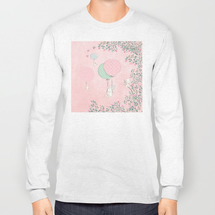 Cute flying Bunny with Balloon and Flower Rabbit Animal on pink floral background Long Sleeve T-shirt