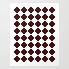 Large Diamonds - White and Dark Sienna Brown Art Print