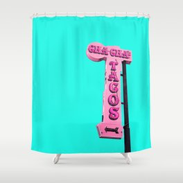 Cha-Cha's Tacos Retro Vintage Pink Sign Shower Curtain