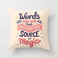 risa rodil Throw Pillows featuring Source of Magic by Risa Rodil