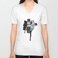 wisconsin V-neck T-shirts featuring Wisconsin Avenue by Joe Castro