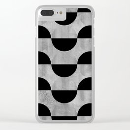 Black abstract 60s circles on concrete - Mix & Match with Simplicty of life Clear iPhone Case