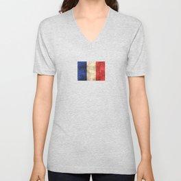 Vintage Aged and Scratched French Flag Unisex V-Neck