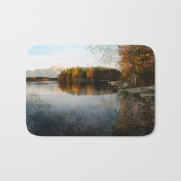 Boats by the Lake in October Bath Mat