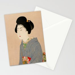 Japanese Art Print - Woman in Blue Kimono Stationery Cards