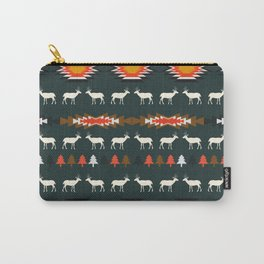 Ethnic deer pattern with Christmas trees Carry-All Pouch