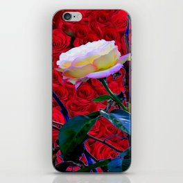 YELLOW ROSE  ON RED ROSES GARDEN ABSTRACT iPhone Skin