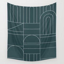 Deco Geometric 04 Teal Wall Tapestry