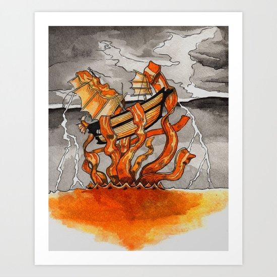Bacon Kraken Art Print