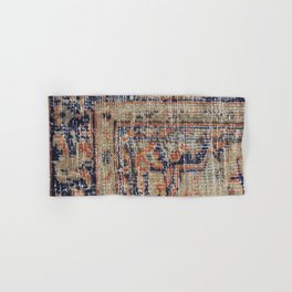 Vintage Woven Navy Blue and Tan Kilim  Hand & Bath Towel