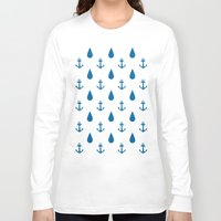 anchors Long Sleeve T-shirts featuring Raining Anchors by The Venerate Empire