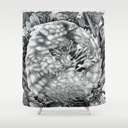 Lizard Dot Illustration Shower Curtain