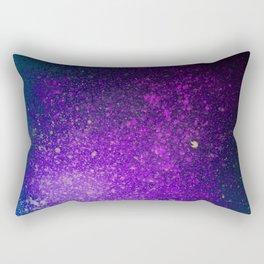 "Purple Stars Paint splatter on Deep Blue ""Dream On"" Rectangular Pillow"
