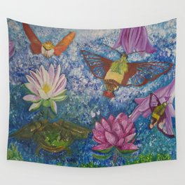 Hummingbird Moth and Frog Wall Tapestry