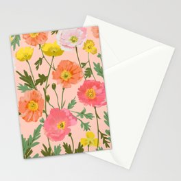 Large Poppy Coral Stationery Cards