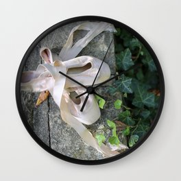 Pink Ballet Pointe Shoes on Limestone Wall with Ivy Vines 2 Wall Clock