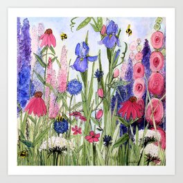 Colorful Garden Flower Acrylic Painting Art Print