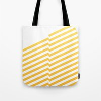 bands Tote Bags featuring Yellow bands by blacknote