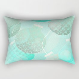 Silver and Mint Blue Christmas Ornaments Rectangular Pillow