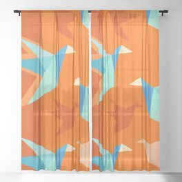 Orange Paper Cranes Sheer Curtain