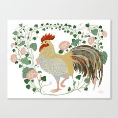Rooster and morning glory Canvas Print