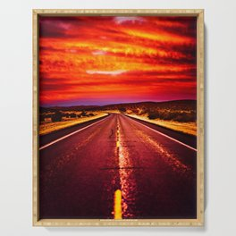 Desert Sunrise, Big Bend, Texas Serving Tray