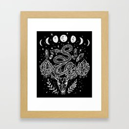 Gothic Snakes And Crystals Moon Phases Framed Art Print