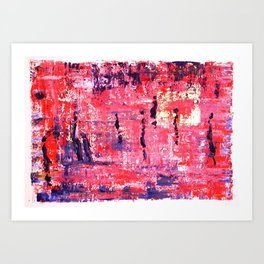 Figures with pink blue and gold acrylic painting by Lynn Ede Art Print
