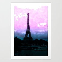 Paris Eiffel Tower : Lavender Teal Art Print