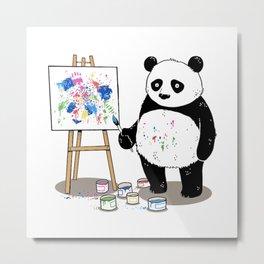 Pandas paint colorful pictures Metal Print