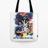 starwars Tote Bags featuring StarWars Sphynx by Psyca