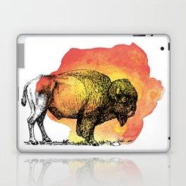 American Bison on Sunset Orange Watercolor Laptop & iPad Skin