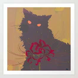 Red Sneakers and a Grey Cat_teaser Art Print