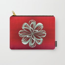 Cyan Bloom on Red Carry-All Pouch