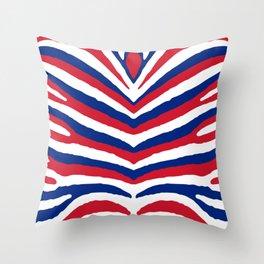 UK British Union Jack Red White and Blue Zebra Stripes Throw Pillow