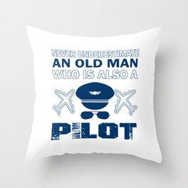 Old Man - A Pilot Throw Pillow