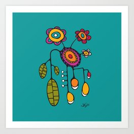 Flower Pot in Color on Teal Art Print