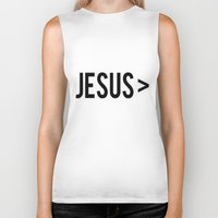 jesus Biker Tanks featuring Jesus > by Sarah Leanne