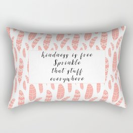Bohemian Feathers Coral  Kindness is Free Rectangular Pillow