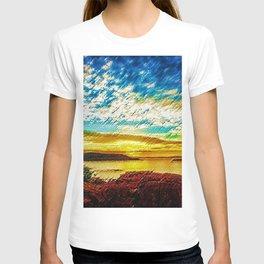Gold & Blue Sunset, Scituate Reservoir Landscape by Jeanpaul Ferro T-shirt