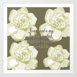 Scripture Gray,White Rose Art Print