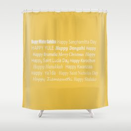Happy Holidays! in Gold Shower Curtain
