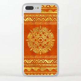 Gold Aztec Calendar Sun symbol Clear iPhone Case
