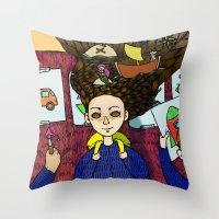 school Throw Pillows featuring SCHOOL by nu boniglio