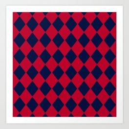 Red blue geometric pattern Art Print