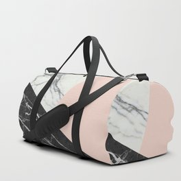 Black and White Marble with Pantone Pale Dogwood Duffle Bag