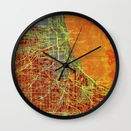 10-Chicago Illinois 1947, old map, orange and red Wall Clock