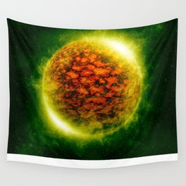 An illustration of a burning polluted planet.  Wall Tapestry