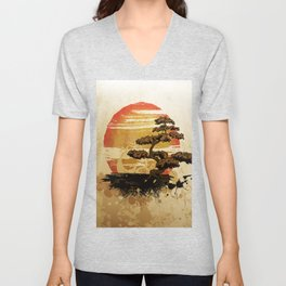 Bonsai Tree In The Sunset Unisex V-Neck