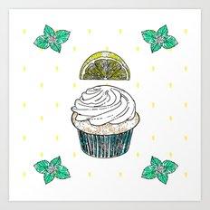 Lemon & Mint Cupcake Art Print